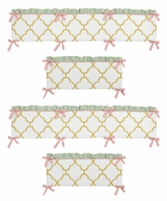 Gold, Mint, Coral and White Ava Collection Baby Crib Bumper Pad by Sweet Jojo Designs