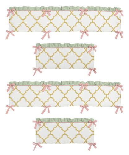 Gold, Mint, Coral and White Ava Collection Baby Crib Bumper Pad by Sweet Jojo Designs - Click to enlarge