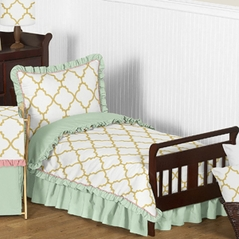 Gold, Mint, Coral and White Ava Girls Toddler Bedding - 5pc Set