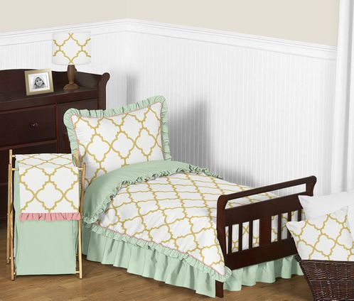 Gold, Mint, Coral and White Ava Girls Toddler Bedding - 5pc Set - Click to enlarge