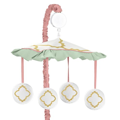 Gold, Mint, Coral and White Ava Musical Baby Crib Mobile by Sweet Jojo Designs - Click to enlarge
