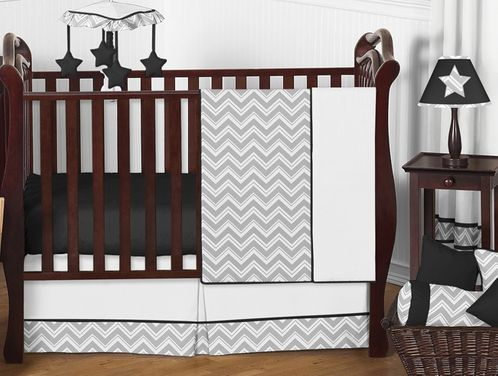 Gray and Black Chevron Zig Zag Baby Bedding - 11pc Crib Set by Sweet Jojo Designs - Click to enlarge