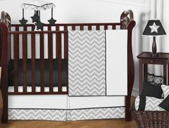 Gray and Black Chevron Zig Zag Baby Bedding - 11pc Crib Set by Sweet Jojo Designs