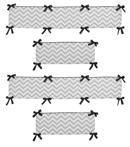 Gray and Black Zig Zag Collection Crib Bumper by Sweet Jojo Designs - Click to enlarge