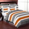 Gray and Orange Stripe 4pc Teen Twin Bedding Set Collection