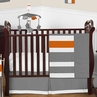 Gray and Orange Stripe Baby Bedding - 11pc Crib Set by Sweet Jojo Designs
