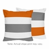 Gray and Orange Stripe Decorative Accent Throw Pillows - Set of 2