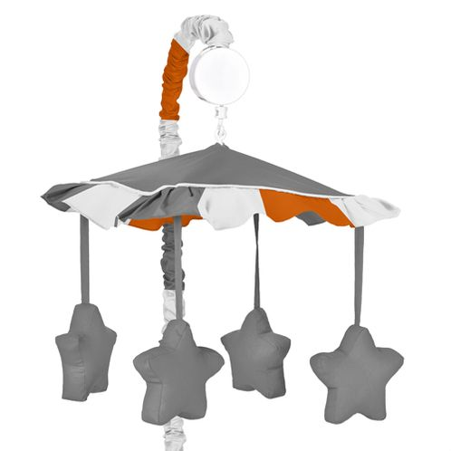 Gray and Orange Stripe Musical Baby Crib Mobile by Sweet Jojo Designs - Click to enlarge