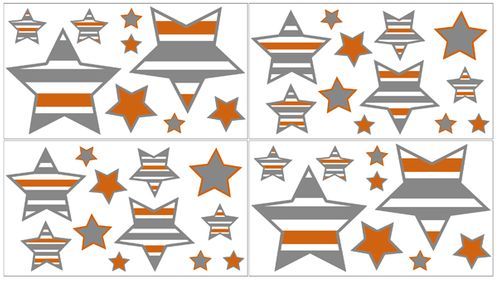 Gray and Orange Stripe Peel and Stick Wall Decal Stickers Art Nursery Decor by Sweet Jojo Designs - Set of 4 Sheets - Click to enlarge