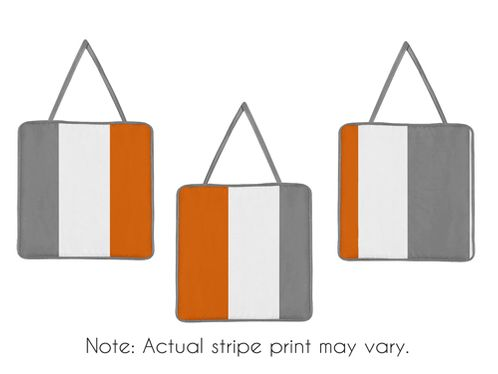 Gray and Orange Stripe Wall Hanging Accessories by Sweet Jojo Designs - Click to enlarge