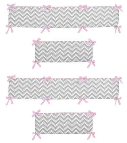 Gray and Pink Zig Zag Collection Crib Bumper by Sweet Jojo Designs - Click to enlarge