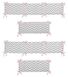 Gray and Pink Zig Zag Collection Crib Bumper by Sweet Jojo Designs