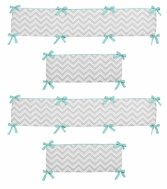Gray and Turquoise Blue Zig Zag Collection Crib Bumper by Sweet Jojo Designs
