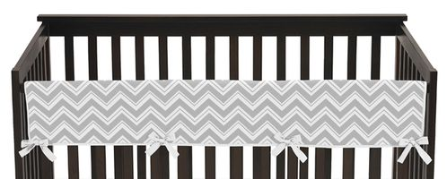 Gray and Turquoise Zig Zag Chevron Baby Crib Long Rail Guard Cover by Sweet Jojo Designs - Click to enlarge