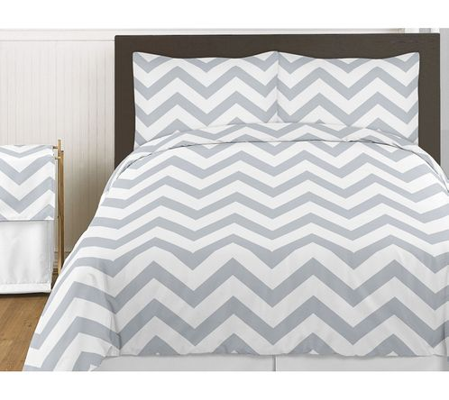 Gray and White Chevron 3pc Childrens and Teen Zig Zag Full / Queen Bedding Set Collection - Click to enlarge