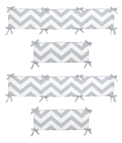 Gray and White Chevron Collection Crib Bumper by Sweet Jojo Designs - Click to enlarge