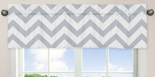 Gray and White Chevron Collection Zig Zag Window Valance - Click to enlarge