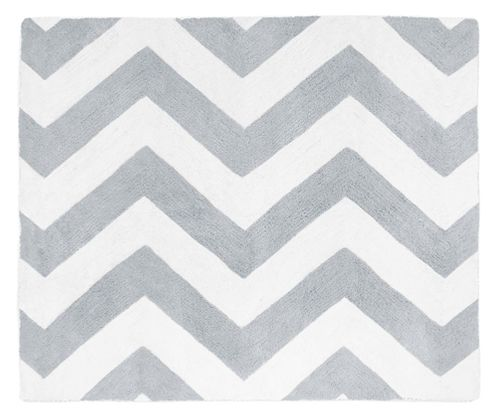White Chevron Zig Zag Accent Floor Rug