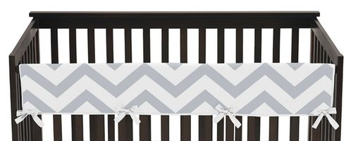 Gray and White Chevron Zig Zag Baby Crib Long Rail Guard Cover by Sweet Jojo Designs - Click to enlarge