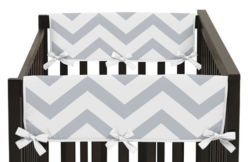 Gray and White Chevron Zig Zag Baby Crib Side Rail Guard Covers by Sweet Jojo Designs - Set of 2 - Click to enlarge