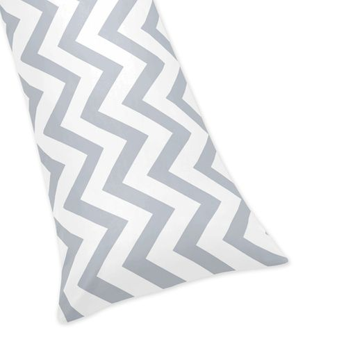 Gray and White Chevron Zig Zag Full Length Double Zippered Body Pillow Case Cover - Click to enlarge