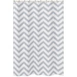 Gray and White Chevron Zig Zag Kids Bathroom Fabric Bath Shower Curtain