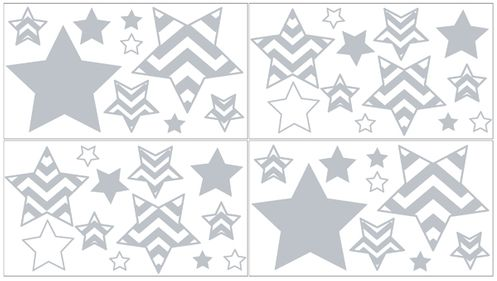 Gray and White Chevron Zig Zag Peel and Stick Wall Decal Stickers Art Nursery Decor by Sweet Jojo Designs - Set of 4 Sheets - Click to enlarge