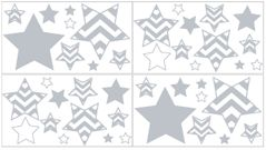 Gray and White Chevron Zig Zag Peel and Stick Wall Decal Stickers Art Nursery Decor by Sweet Jojo Designs - Set of 4 Sheets