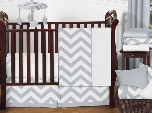 Gray and White Chevron ZigZag Baby Bedding - 11pc Crib Set by Sweet Jojo Designs - Click to enlarge