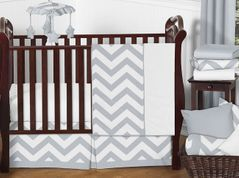 Gray and White Chevron ZigZag Baby Bedding - 11pc Crib Set by Sweet Jojo Designs