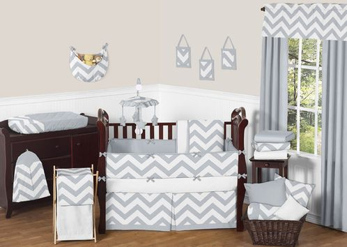 Gray and White Chevron ZigZag Baby Bedding - 9pc Crib Set by Sweet Jojo Designs - Click to enlarge