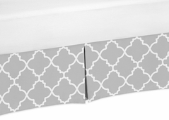 Gray and White Crib Bed Skirt for Trellis Baby Bedding Sets by Sweet Jojo Designs