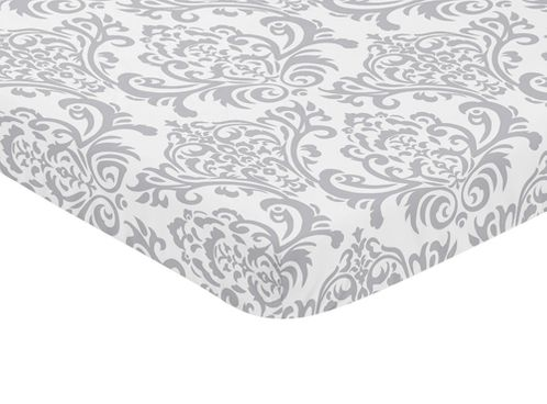 Gray and White Damask Baby Fitted Mini Portable Crib Sheet for Elizabeth Collection by Sweet Jojo Designs - Click to enlarge