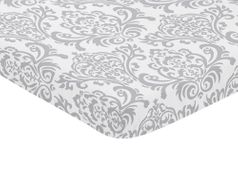 Gray and White Damask Baby Fitted Mini Portable Crib Sheet for Elizabeth Collection by Sweet Jojo Designs