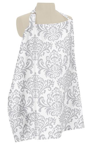 Gray and White Damask Infant Baby Breastfeeding Nursing Cover Up Apron by Sweet Jojo Designs - Click to enlarge