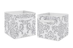 Gray and White Damask Organizer Storage Bins for Skylar Collection by Sweet Jojo Designs - Set of 2