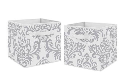 Gray and White Damask Organizer Storage Bins for Skylar Collection by Sweet Jojo Designs - Set of 2 - Click to enlarge