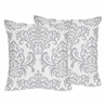 Gray and White Damask Skylar Decorative Accent Throw Pillows - Set of 2