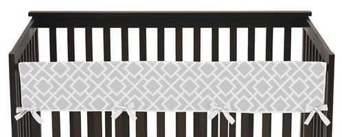 Gray and White Diamond Baby Crib Long Rail Guard Cover by Sweet Jojo Designs - Click to enlarge
