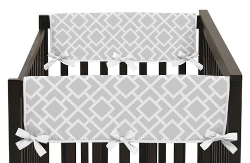 Gray and White Diamond Baby Crib Side Rail Guard Covers by Sweet Jojo Designs - Set of 2 - Click to enlarge