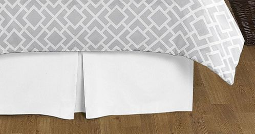 Gray and White Diamond Collection Bed Skirt - Solid White - King Size - Click to enlarge