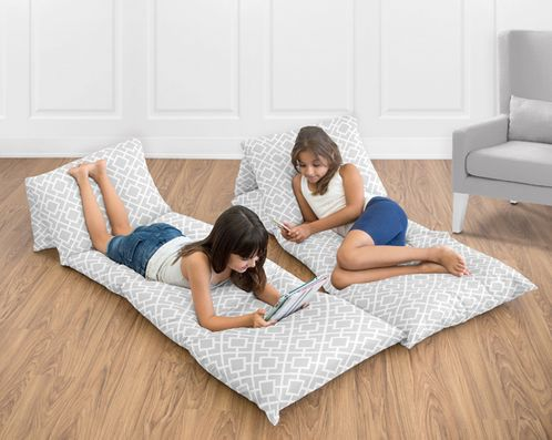 Gray and White Diamond Collection Kids Teen Floor Pillow Case Lounger Cushion Cover - Click to enlarge