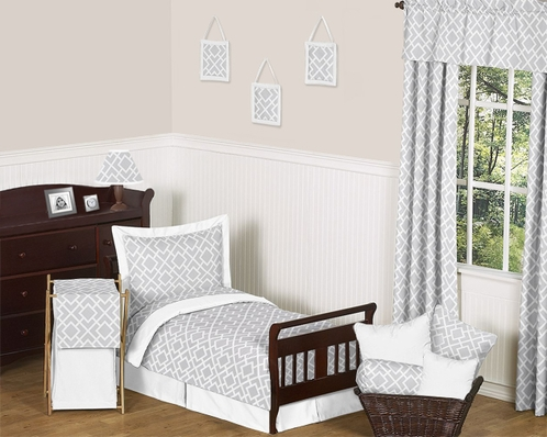Gray and White Diamond Toddler Bedding - 5pc Set by Sweet Jojo Designs - Click to enlarge