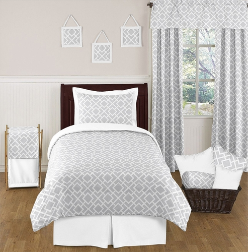 Gray and White Diamond Childrens and Kids Bedding - 4pc Twin Set by Sweet Jojo Designs - Click to enlarge