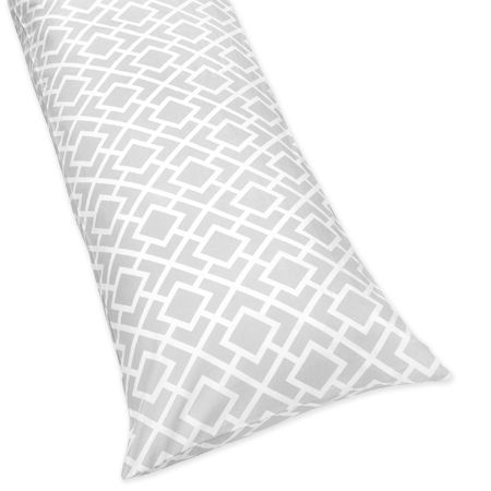 Gray and White Diamond Full Length Double Zippered Body Pillow Case Cover by Sweet Jojo Designs - Click to enlarge