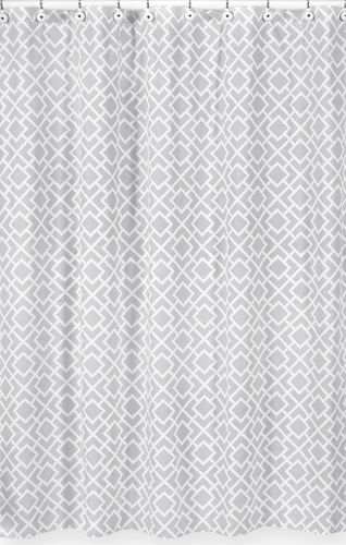 Gray and White Diamond Kids Bathroom Fabric Bath Shower Curtain by Sweet Jojo Designs - Click to enlarge