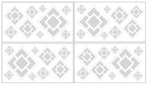 Gray and White Diamond Peel and Stick Wall Decal Stickers Art Nursery Decor by Sweet Jojo Designs - Set of 4 Sheets - Click to enlarge