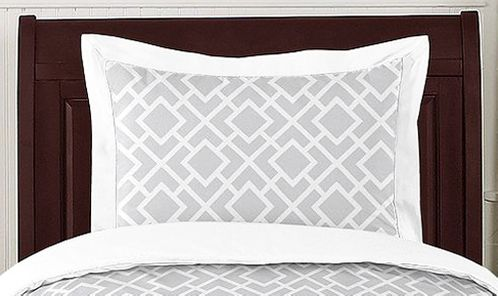 Gray and White Diamond Pillow Sham by Sweet Jojo Designs - Click to enlarge