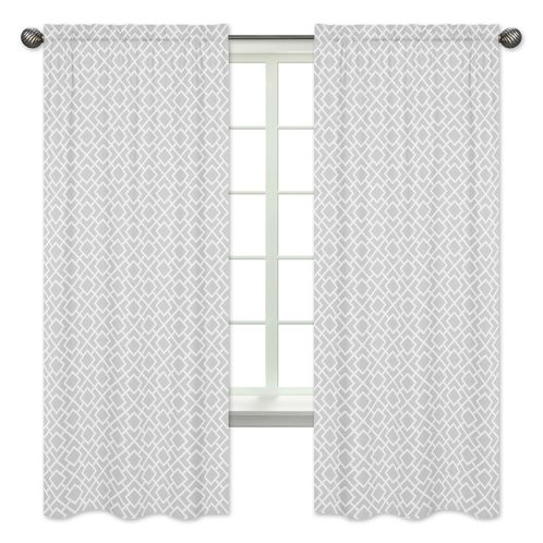 Gray and White Diamond Window Treatment Panels by Sweet Jojo Designs - Set of 2 - Click to enlarge