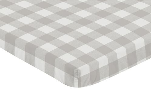 Gray and White Rustic Woodland Flannel Baby Unisex Boy or Girl Fitted Mini Portable Crib Sheet for Grey Buffalo Plaid Check Collection by Sweet Jojo Designs (For Mini Crib or Pack and Play ONLY) - Country Lumberjack - Click to enlarge